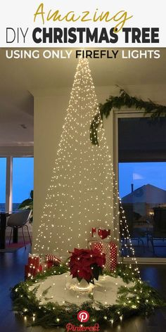 DIY Christmas Tree Using Only Firefly Lights Looking for an alternative Christmas tree? Try making our easy DIY Christmas tree using only firefly lights! (Or fairy lights for those of you in Europe! Diy Christmas Lights, Noel Christmas, Christmas Projects, Simple Christmas, Europe Christmas, Christmas Lights Outside, Christmas Yard, Christmas Bedroom, Lighted Christmas Pictures