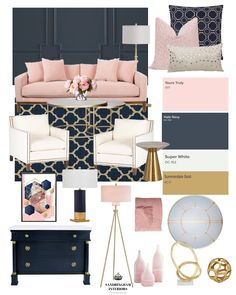 Create the Look Glam Navy 038 Pink Living Room Create the Look Glam Navy 038 Pink Living Room Bindi Patel cushylife Living room One of my favorite color nbsp hellip Blue And Pink Living Room, Blush Living Room, Navy Blue Living Room, Living Room Decor, Bedroom Decor, Pink Room, Pink Living Rooms, Blue And Gold Bedroom, Navy Blue Rooms