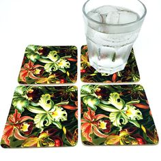 Ernst Haeckel Coaster Set  Drink Coasters  Floral by JDzigner