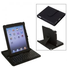 Bluetooth V2.0 Wireless Keyboard with 360 Degrees Rotatable Case Holder for iPad 2 (Black)