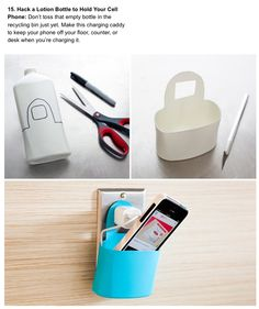 Cell phone holder made of an empty lotion bottle -- cool idea!