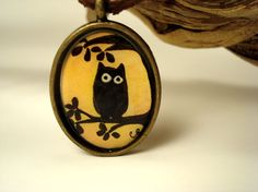 Owl silhouette pendant necklace brass on by DreamOutLoudArt, $25.00