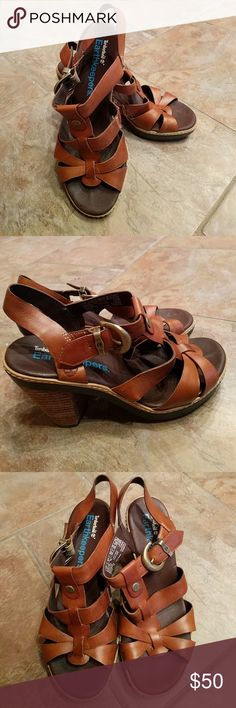 """Timberland Earthkeepers sandals Brown Earthkeeper sandals with 3"""" heel.  Excellent condition, gently worn.  Super comfortable leather with leather footbed.  Adjustable side buckle with elastic straps for comfortable movement. Timberland Shoes Sandals"""