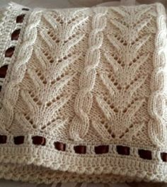 Very pretty knit blanket - Free Tutorials (Beautiful Skills - Crochet Knitting Quilting) - Strickmuster - Knitting Stiches, Knitting Charts, Lace Knitting, Crochet Stitches, Knitting Machine, Knitting Designs, Knitting Projects, Crochet Projects, Knitted Afghans