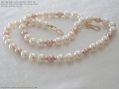 8mm High Lustre Metallic White and Metallic Rose Lilac Round Freshwater Pearl Necklace and Earring Set
