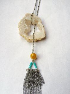 White Raw Geode Tassel Necklace Natural Druzy by ShopMoonCrystals