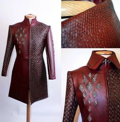 Rhaegar Targaryen inspired Leather Robe by Volto-Nero-Costumes on DeviantArt Armor Clothing, Viking Clothing, Game Of Thrones Costumes, Fantasy Costumes, Movie Costumes, House Dress, Character Outfits, Leather Collar, Cow Leather