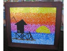 "Class Art Projects For Auction | Mrs. Clarke's Class Art Project ""Sunset Pointillism"" - Online ..."