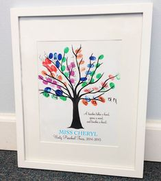 Teacher Fingerprint Tree Gift A Teacher by PartyOf5Printables