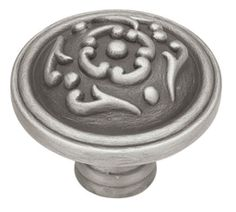 French Lace Brushed Satin Pewter Knob 38Mm L-PN1510-BSP-C