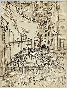 Vincent van Gogh: The Drawings (The Cafe Terrace on the Place du Forum, Arles, at Night) 1888 Vincent Van Gogh, Van Gogh Drawings, Van Gogh Paintings, Ink Drawings, Art Van, Van Gogh Museum, Art Museum, Pablo Picasso, Monet