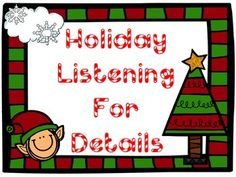 A fun holiday themed listening for details activity pack.In this file:Color the Ugly Sweater!  Students will listen for clues to know which sweater is being described.  Then students can color the sweater the colors used in description.Listening Board Game:  Students will roll dice and move along the board game.