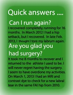 A personal blog that describes in detail the roller coaster of a recovery from Hip FAI surgery recovery.