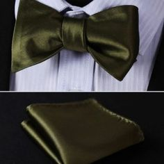 Jacquard Woven Men bow tie, Wedding Butterfly Self Bow Tie Pocket Square Handkerchief BowTie Set Hanky Suit Pocket Handkerchief, Silk Bow Ties, Bow Tie Wedding, Butterfly Wedding, Tie And Pocket Square, Jacquard Weave, Green Silk, Suit, Men