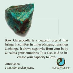 CRYSTAL HEALING Raw Chrysocolla for stress, transition & change as well as drawing negativity from the body. http://www.inner-being.eu