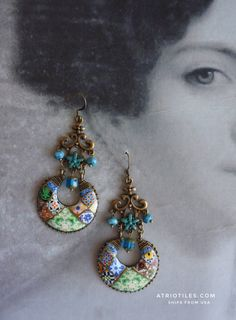 Portugal Tile Antique Replica Chandelier Earrings from Lisbon Lisboa - Green Turquoise Persian, Majolica Mosaic Zellige Eclectic OOAK