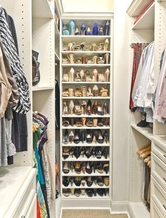 Narrow walk in wardrobe idea