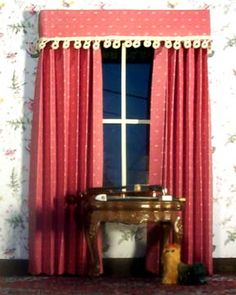 Instructions on how to make dollhouse curtains, drapes, valances out of scrap fabric, or paper and bamboo skewers.