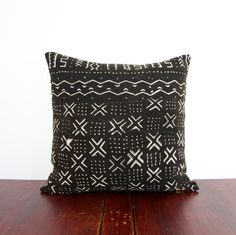 Boho Rapsodia's (Give Back) African Collection - One of a Kind Black and White Mudcloth Pillow (18x18 cover pillows)