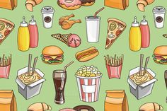 Doodle pattern fast food by Netkoff on Creative Market