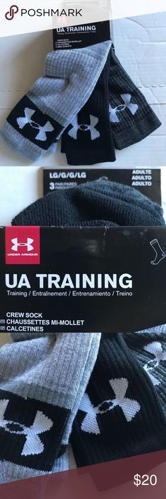 "Under Armour Training Crew Socks L Men's 9-12.5 Under Armour Training style Crew Socks L Fits mens 9-12.5 shoes womens 11-13 shoes  Reverse weaved arch support  ""Armour Dry""material accelerates evaporation  Includes Light Gray, black, Dark variegated gray pairs UA emblem on legs Under Armour Underwear & Socks Athletic Socks"
