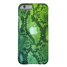 Green Snake skin style case with Apple logo for all iPhone