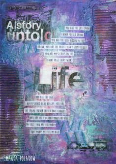 Mixed Media background on canvas board. Click through for materials list and video from Faber-Castel Design Memory Craft