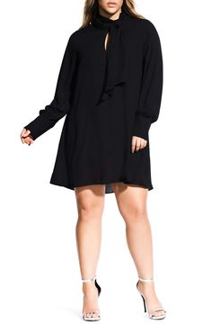 c7595a3f23b4 City Chic Tie Neck Tunic Dress (Plus Size)