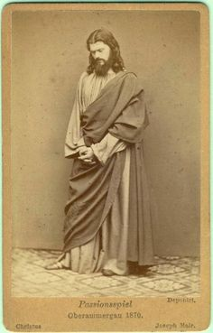 """vintage cdv Jesus Christ Passion Oberammargau Bavaria catholic Germany foto 1870 -Joseph Mair playing Jesus Christ in the Easter ( created in the 17th century & played every 10 years) """"Passion play"""" of Oberammargau in Bavaria, Germany , in 1870     photographer: Steigenberger, Weilheim, Bavaria, Germany"""