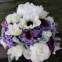 white anemone, purple hydrangea, white peony, white freesia, purple call lily wedding flower bouquet, bridal bouquet, wedding flowers, add pic source on comment and we will update it. www.myfloweraffair.com can create this beautiful wedding flower look.