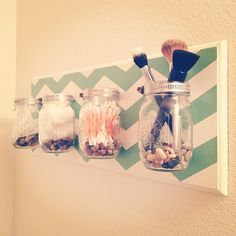 DIY Chevron Mason Jar Bathroom Organizer (secured w/ hose clamps from Home Depot). Great idea for craft room too!!