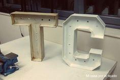 DIY Letras de madera con luz para boda