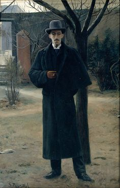 Portrait of Miguel Utrillo, 1890 by Santiago Rusinol (1861-1931)...Miquel Utrillo i Morlius (Spanish 1862-1934) was an engineer, painter, decorator, art critic and promoter of Spanish culture. He was one of the artistic directors of Barcelona's Universal Exhibition of 1929, actively participating in the creation of the Spanish Village of Montjuïc..... like his long-line overcoat
