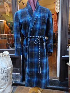 Vintage 1960s blue black white shadow plaid checked dressing gown robe smoking jacket Hugh Heffner Ivy League by TheDustbowlVintage on Etsy https://www.etsy.com/listing/218600109/vintage-1960s-blue-black-white-shadow