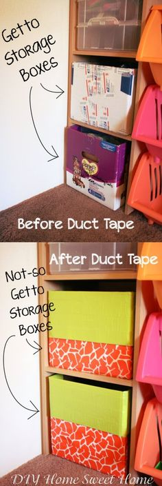 DUCT TAPE!! Use duct tape to make sturdy, but ugly, boxes look decorative! Im pretty pose this is pose to say ghetto not get to!! Lol but still a good idea! I been wanting to use the new pretty duct tape too!!