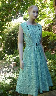 1950s Vintage style Dress in mint green scotty by jacksdaughter, $130.00