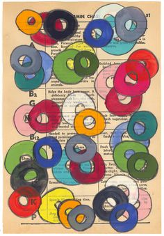 Vitamins - Original Gouache Painting on Antique Book Paper. $60.00, via Etsy.