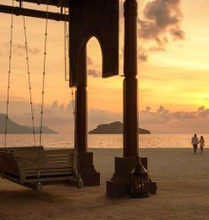 We've saved this seaside swing just for you two.