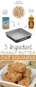 #3. 3 Ingredient Peanut Butter Oat Squares -- These are so GOOD and easy (no bake)! | 6 Ridiculously Healthy Three Ingredient Treats