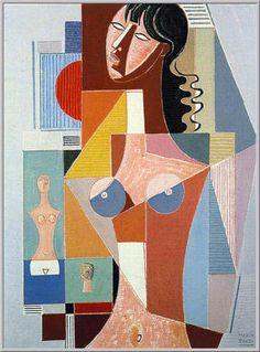 Mario Tozzi: 1977 La Dame, le Buste, la Tete (olio su tela cm.81x60 - Collezione Parigi - Archivio n.732 - Catalogo n.77/2)