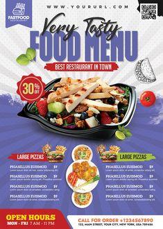 Restaurant Flyer, Restaurant Menu Design, Fast Food Restaurant, Restaurant Recipes, Menu Card Design, Food Poster Design, Menu Flyer, Free Psd Flyer, Flyers