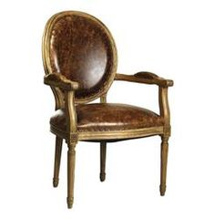 French Country Louis XVI Oval Back Leather Dining Arm Chair | Kathy Kuo Home