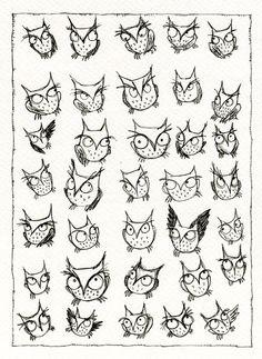 Nursery Owl Art: Thirty Five Owls 8.5 x 11 Print.. $8.00, via Etsy.
