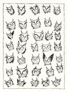 Nursery Owl Art: Thirty Five Owls 8.5 x 11 Print.. $8.00, via Etsy.