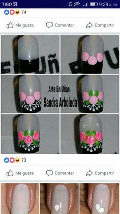 Nail Art Photos, Flower Nails, Thalia, Nail Arts, Manicure And Pedicure, Diy Nails, Makeup Tips, Acrylic Nails, Fashion Beauty