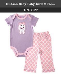 Hudson Baby Baby-Girls 2 Piece Bodysuit and Pant Set, Purple Puppy, 0-3 Months. Hudson Baby premium layette collection of high quality cute baby clothing features 100 percent premium cotton for the softest touch on your baby's gentle skin. This bodysuit and pant set are essential to any baby's wardrobe. This set is so comfortable and versatile. Bodysuits can be worn together with pants or by themselves. R. The one-piece design bodysuit with snaps makes for no fuss dressing and easy diaper...