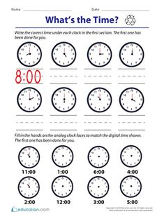 Telling Time on the Quarter Hour: Match It | Worksheet | Education.com