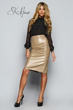 SK Leather Skirt - SK House - Ladies in Leather - Women in Uniform Look Fashion, Skirt Fashion, Womens Fashion, Pvc Skirt, Dress Skirt, Hot Outfits, Skirt Outfits, Hobble Skirt, Leather Dresses