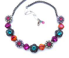 DAZZLING BLOOMS Swarovski Crystal Flower Necklace by SiggyJewelry