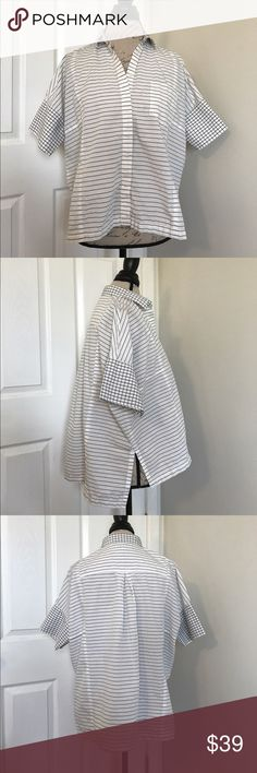 Madewell Courier Boxy Shirt Stripe Gingham Combo Madewell Courier Shirt. Button down, boxy style, stripe gingham combo, short sleeve shirt/blouse. Pocket on breast. Size XS. White w/ gray. Last picture is same style shirt, but not pattern Madewell Tops Button Down Shirts